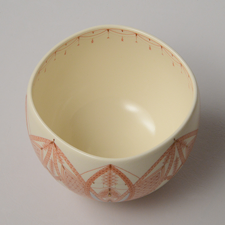 「HP37 見附正康 赤絵細描小紋茶碗 / MITSUKE Masayasu Chawan, Aka-e」の写真 その3
