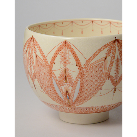 「HP37 見附正康 赤絵細描小紋茶碗 / MITSUKE Masayasu Chawan, Aka-e」の写真 その5