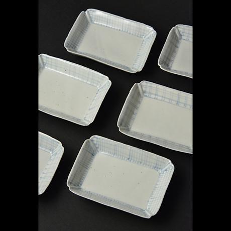 「No.8 染付平向付  大 六 / A set of 6 plates, Sometsuke」の写真 その1