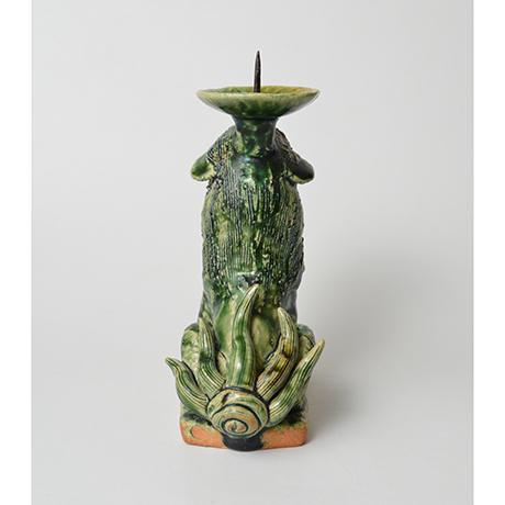 「No.35 織部狛犬阿形燭台 / Candle stand, Oribe, Lion dog shaped」の写真 その3