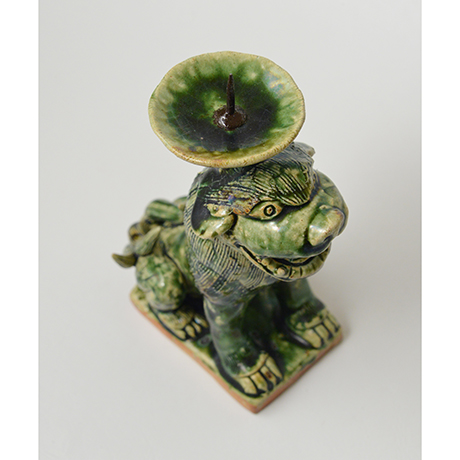 「No.35 織部狛犬阿形燭台 / Candle stand, Oribe, Lion dog shaped」の写真 その5