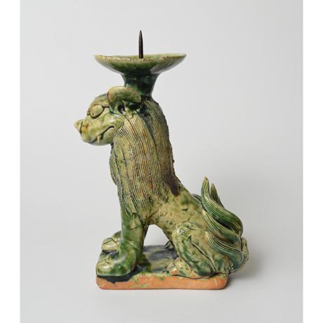 「No.34 織部狛犬吽形燭台 / Candle stand, Oribe, Lion dog shaped」の写真 その2