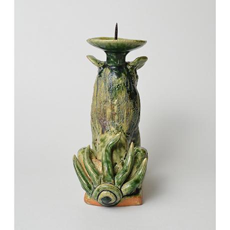 「No.34 織部狛犬吽形燭台 / Candle stand, Oribe, Lion dog shaped」の写真 その3