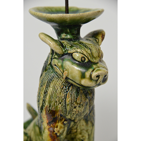 「No.34 織部狛犬吽形燭台 / Candle stand, Oribe, Lion dog shaped」の写真 その6