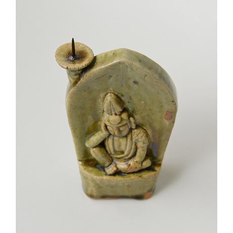 「No.39 織部如意輪観音燭台 / Candle stand, Oribe, Cintamani-cakra (manifestation of Bodhisattva)」の写真 その4