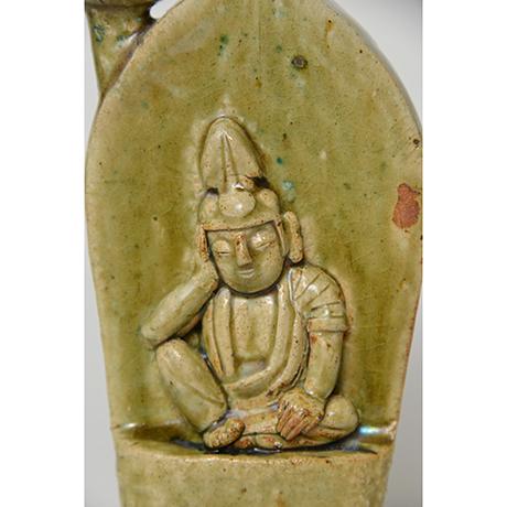 「No.39 織部如意輪観音燭台 / Candle stand, Oribe, Cintamani-cakra (manifestation of Bodhisattva)」の写真 その5