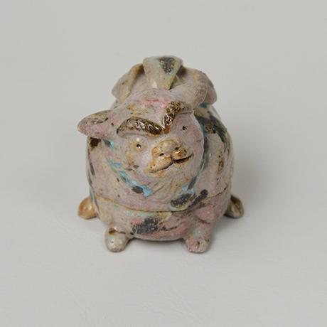 「No.47 弥七田織部獅子香合 / Incense container, Yashichida-oribe, Lion shaped」の写真 その3