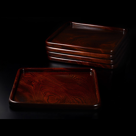 「No.23 黒田辰秋 拭漆欅隅丸膳 / KURODA Tatsuaki A set of 5 trays, Zelkova tree」の写真 その2