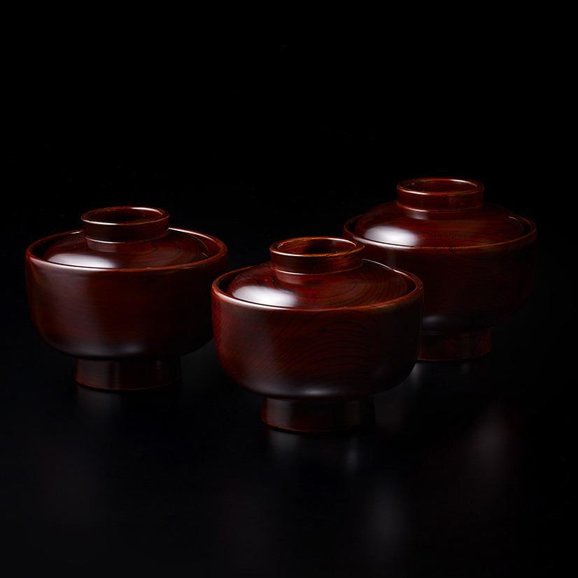 「No.22 黒田辰秋 溜漆欅大平椀(五客) / KURODA Tatsuaki A set of 5 bowls, Zelkova tree」の写真 その1
