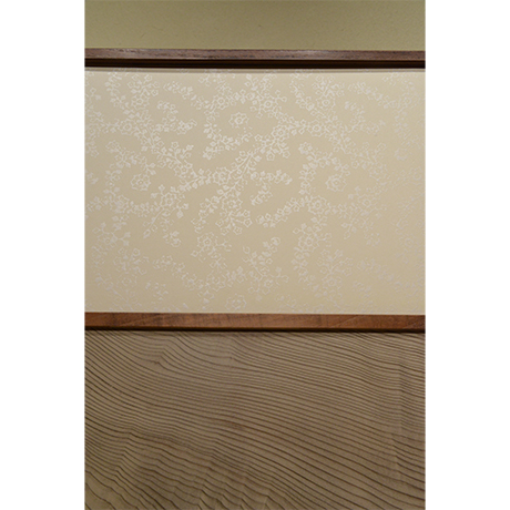 「No.1(DM) 桑縁神代杉市松風炉先屏風 京唐紙:菅原文葉 / Folding screen, Mulberry tree, Japanese cedar  KARAKAMI:SUGAWARA Fumiha」の写真 その6