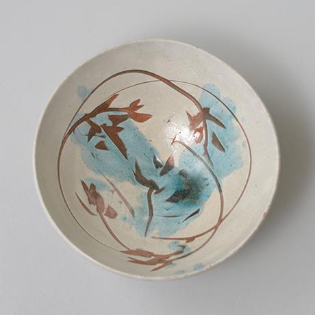 「No.11 石黒宗麿 緑彩草花文 / ISHIGURO Munemaro Tea bowl, Green glazed, Flower motif」の写真 その2