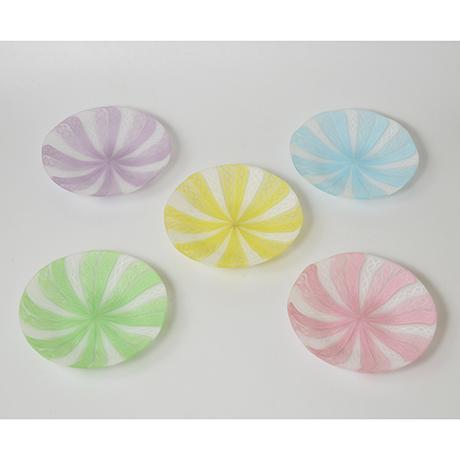 「No.14 藤田喬平 手吹ヴェニス銘々皿 / FUJITA Kyohei A set of 5 plates, Glass」の写真 その3