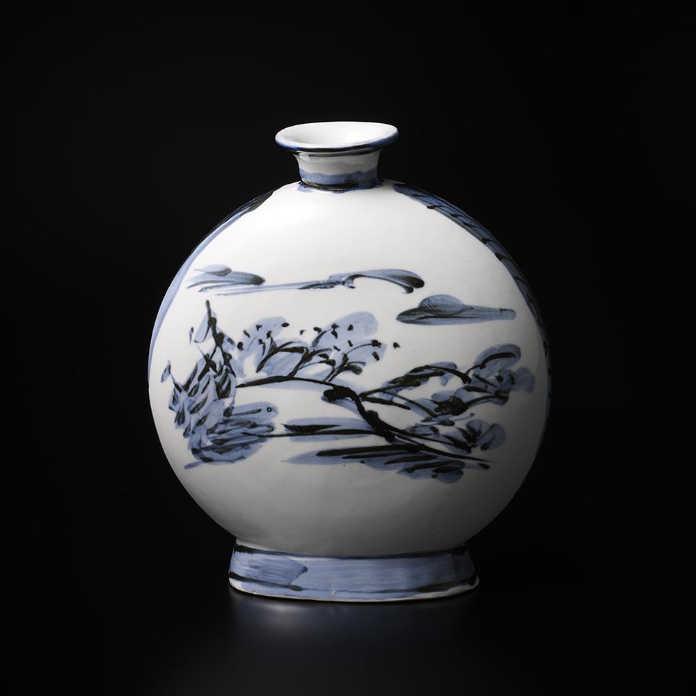「No.19 富本憲吉 絵 染付風景扁壷 / TOMIMOTO Kenkichi (Painted) Flat vessel, Sometsuke」の写真 その1