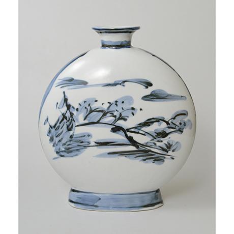 「No.19 富本憲吉 絵 染付風景扁壷 / TOMIMOTO Kenkichi (Painted) Flat vessel, Sometsuke」の写真 その2