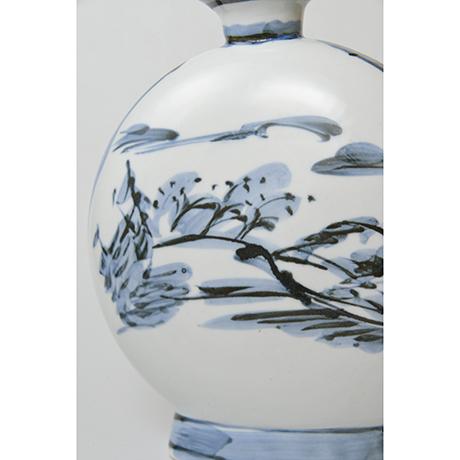 「No.19 富本憲吉 絵 染付風景扁壷 / TOMIMOTO Kenkichi (Painted) Flat vessel, Sometsuke」の写真 その8