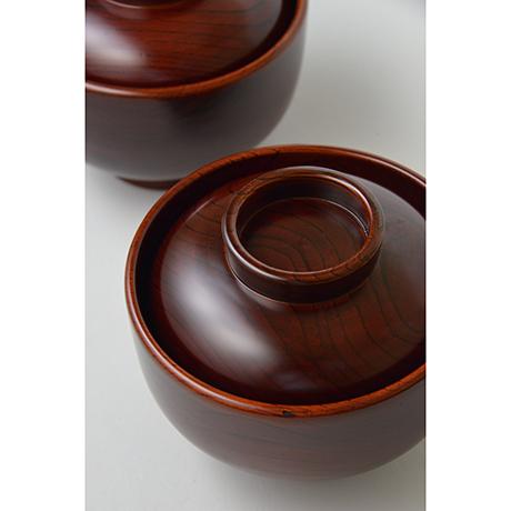 「No.22 黒田辰秋 溜漆欅大平椀(五客) / KURODA Tatsuaki A set of 5 bowls, Zelkova tree」の写真 その5