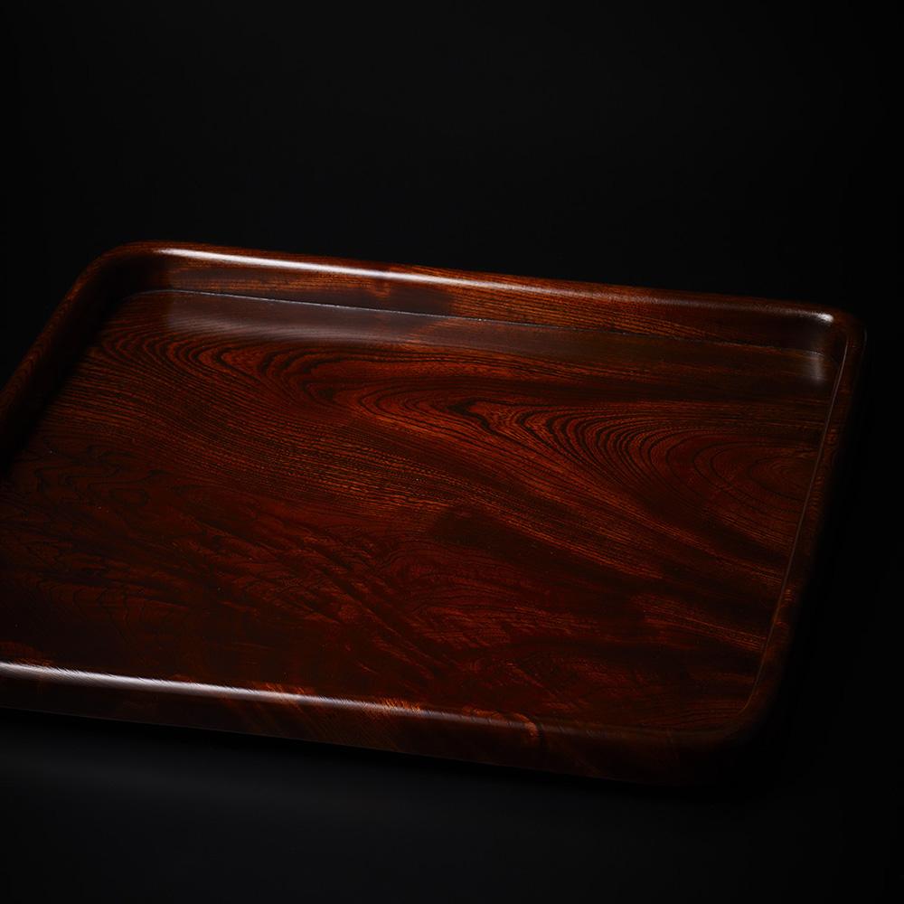 「No.23 黒田辰秋 拭漆欅隅丸膳 / KURODA Tatsuaki A set of 5 trays, Zelkova tree」の写真 その1