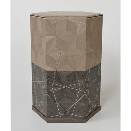 「No.29 神代杉神代栗木画錫象嵌箱 / Ornamental box, Japanese cedar, Japanese chestnut, Tin inlay」の写真 その1