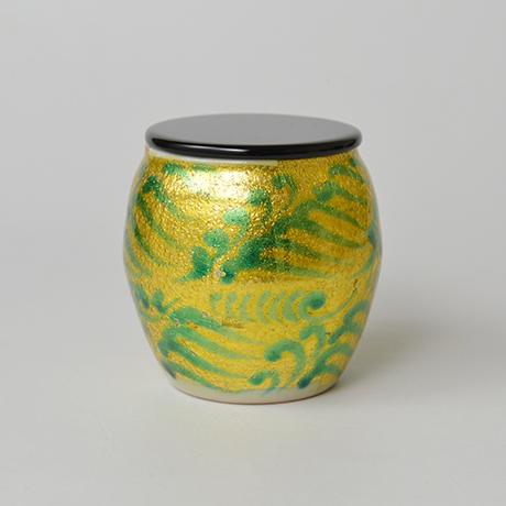 「No.8 加藤土師萌 釉裏金彩茶入 / KATO Hajime Tea caddy, Underglazed gold」の写真 その2
