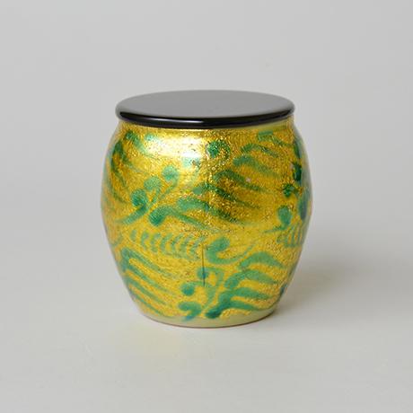 「No.8 加藤土師萌 釉裏金彩茶入 / KATO Hajime Tea caddy, Underglazed gold」の写真 その3