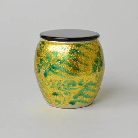 「No.8 加藤土師萌 釉裏金彩茶入 / KATO Hajime Tea caddy, Underglazed gold」の写真 その4