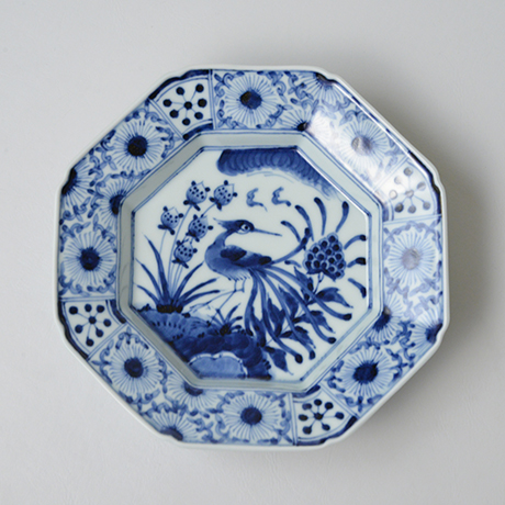 「No.15 芙蓉手花鳥文八角皿 七寸  / Dish with birds and flowers design, Sometsuke」の写真 その1