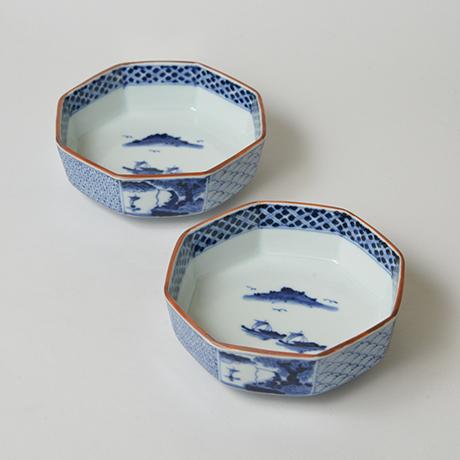 「No.18 祥瑞山水図八角向付  / Dish with landscape design, Sometsuke」の写真 その1