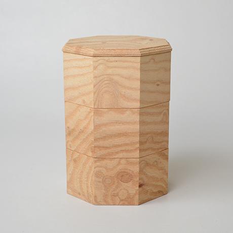 「No.18-2 ミニ八角重 ケヤキ / Octagonal Triple-tiered Box, Zelkova」の写真 その1