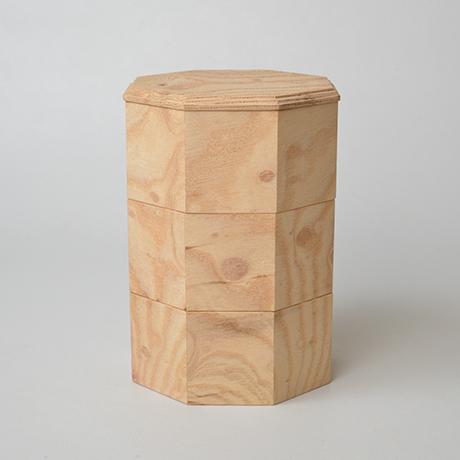 「No.18-2 ミニ八角重 ケヤキ / Octagonal Triple-tiered Box, Zelkova」の写真 その2