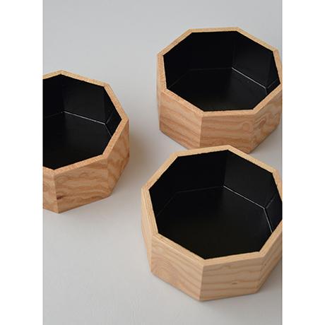 「No.18-2 ミニ八角重 ケヤキ / Octagonal Triple-tiered Box, Zelkova」の写真 その3