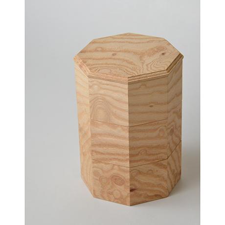 「No.18-2 ミニ八角重 ケヤキ / Octagonal Triple-tiered Box, Zelkova」の写真 その5