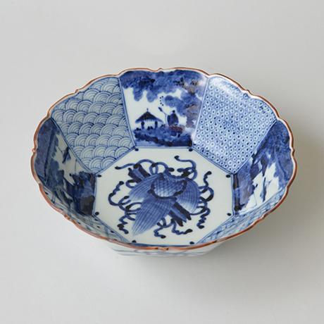 「No.2 祥瑞山水図輪花八角中鉢 / Bowl with landscape design, octagonal shape, Sometsuke」の写真 その1