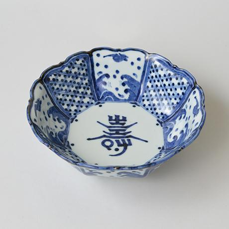 「No.3 波千鳥寿文輪花八角中鉢 / Bowl with design of birds over waves, octagonal, Sometsuke」の写真 その1