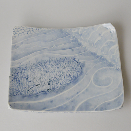 「No.30 長方タタキ皿 / Rectangular plate, Sometsuke」の写真 その1