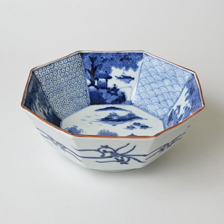 「No.43 祥瑞山水図八角中鉢 / Octagonal bowl with landscape design, Sometsuke」の写真 その1
