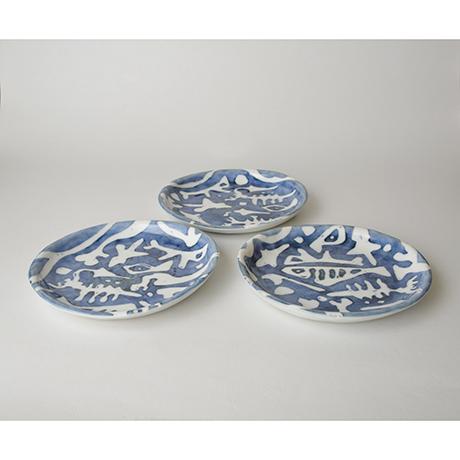 「No.55 丸皿 五 / A set of 5 round plates, Sometsuke」の写真 その1