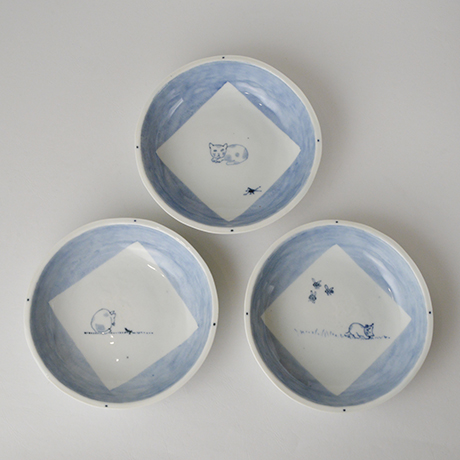 「No.57 丸深皿 五 / A set of 5 round plates, Sometsuke」の写真 その1