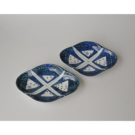 「No.59 菱形足付皿 五 / A set of 5 plates, Rhombus shape, Sometsuke」の写真 その1