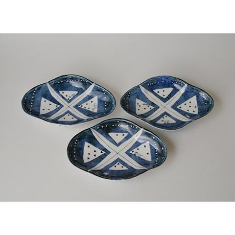 「No.59 菱形足付皿 五 / A set of 5 plates, Rhombus shape, Sometsuke」の写真 その2