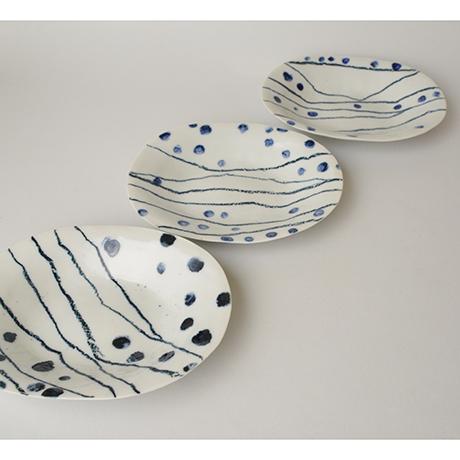 「No.62 小判皿 五 / A set of 5 plates, Japanese Koban coin shape, Sometsuke」の写真 その1