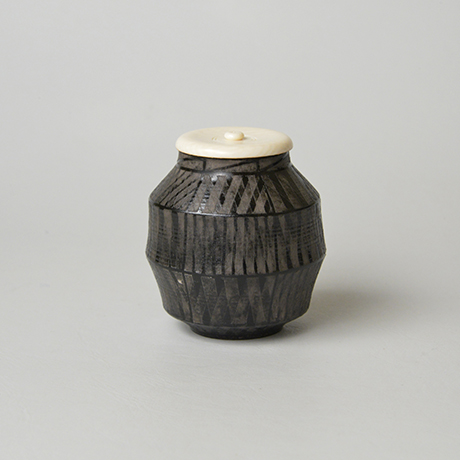 「No.15(図12) 色絵銀彩茶入  / Tea caddy,Overglaze enamels and silver」の写真 その1